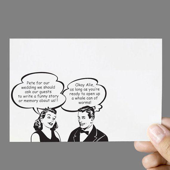 Printable Wedding Guestbook Card Alternative Guestbook Vintage Retro 50's Couple Conversation Bubble Digital File for Self-Print