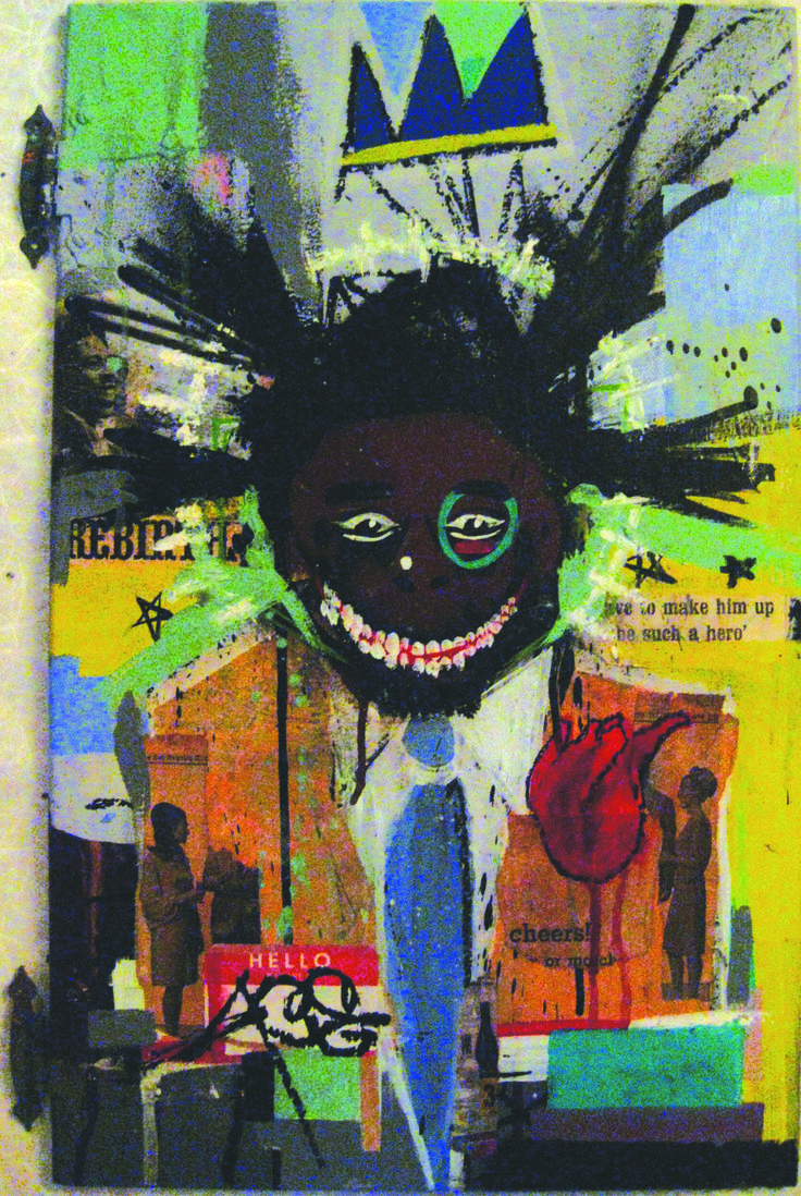 Jean-Michel Basquiat art | size 15 x 24 jean michel basquiat painting by force 129 mixed media on ...