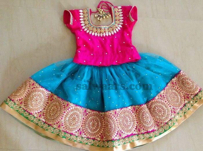 Blue Skirt Maggam Work Blouse - Indian Dresses