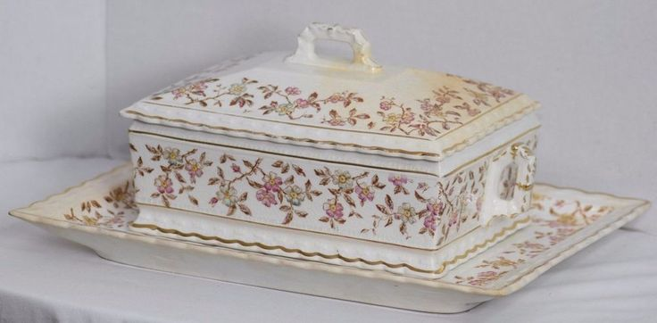 ANTIQUE VICTORIAN MERCER CHINA PORCELAIN TRANSFERWARE FLORAL TUREEN AND TRAY #Victorian #MercerChina