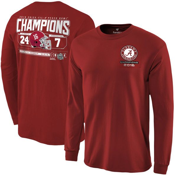 Alabama Crimson Tide Fanatics Branded College Football Playoff 2016 Peach Bowl Champions Score Long Sleeve T-Shirt - Crimson - $22.99