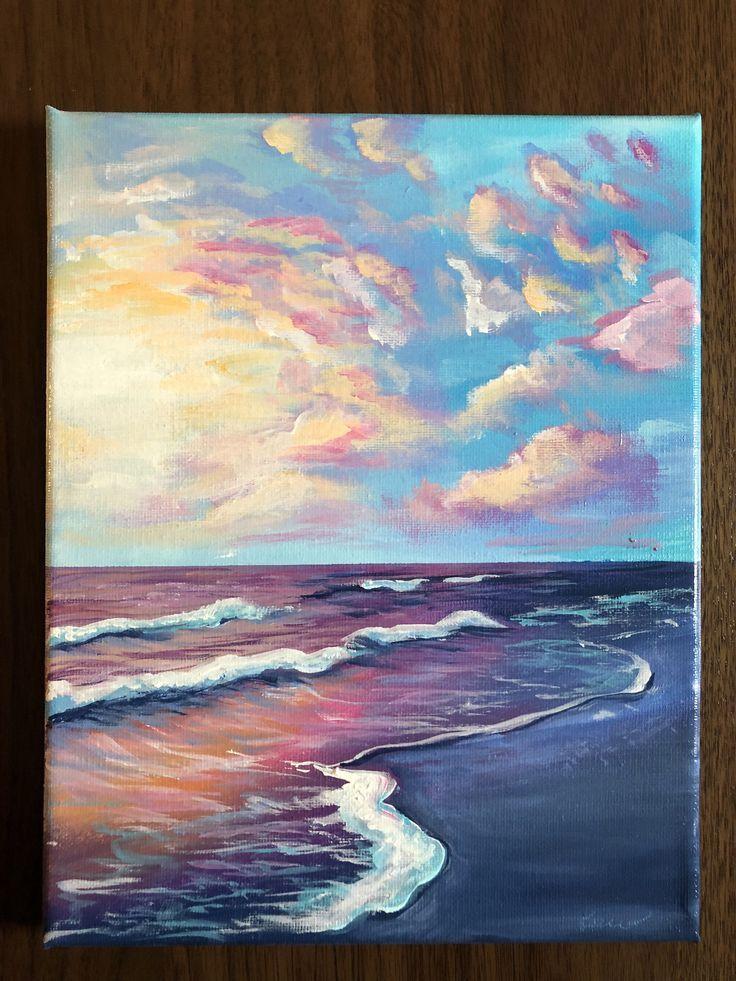 Acrylic Beach Landscape 8x10 Canvas Painting Acrylic Beach Canvas Landscape Painting Canvas Art Painting Sunset Painting Acrylic Art Inspiration Painting