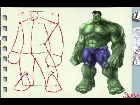 dibujo de un personaje muy corpulento (Hulk) - YouTube