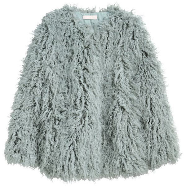Faux Fur Jacket $59.99 ($60) ❤ liked on Polyvore featuring outerwear, jackets and green coats