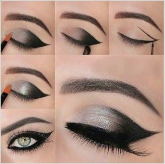 Shimmery Gray Smokey Eye Makeup