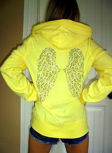 Victoria's Secret Yellow zip up hoodie sweatshirt studded angel wings euc LARGE    eBay