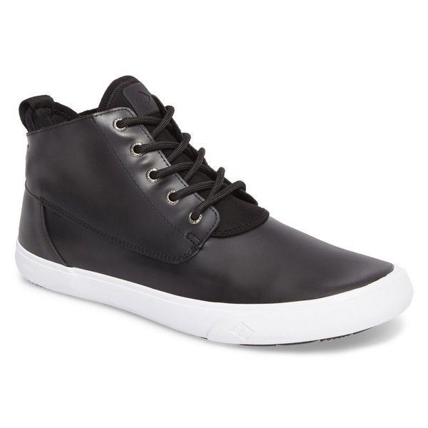 Men's Sperry Cutwater Chukka Boot (355 BRL) ❤ liked on Polyvore featuring men's fashion, men's shoes, men's boots, black leather, mens shoes chukka boots, mens chukka boots, mens chukka shoes, mens black shoes and sperry mens shoes