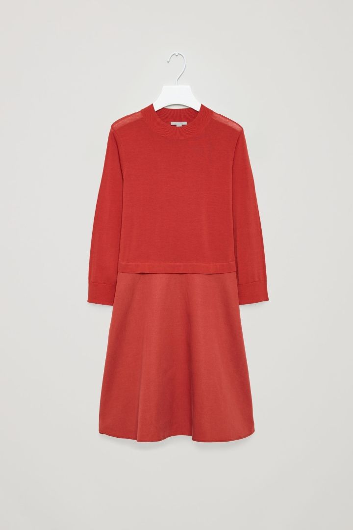 7de52b2344496 COS image 9 of Knitted dress with woven skirt in Red 630