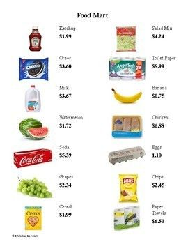 grocery store menu math total cost and calculate change teaching math grocery store math. Black Bedroom Furniture Sets. Home Design Ideas