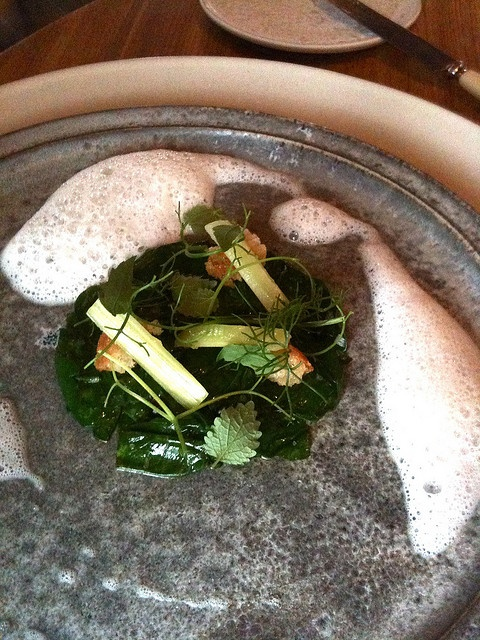 noma Restaurant in Copenhagen - Steamed spinach and tea, cooked onions and celery by paz.ca, via Flickr