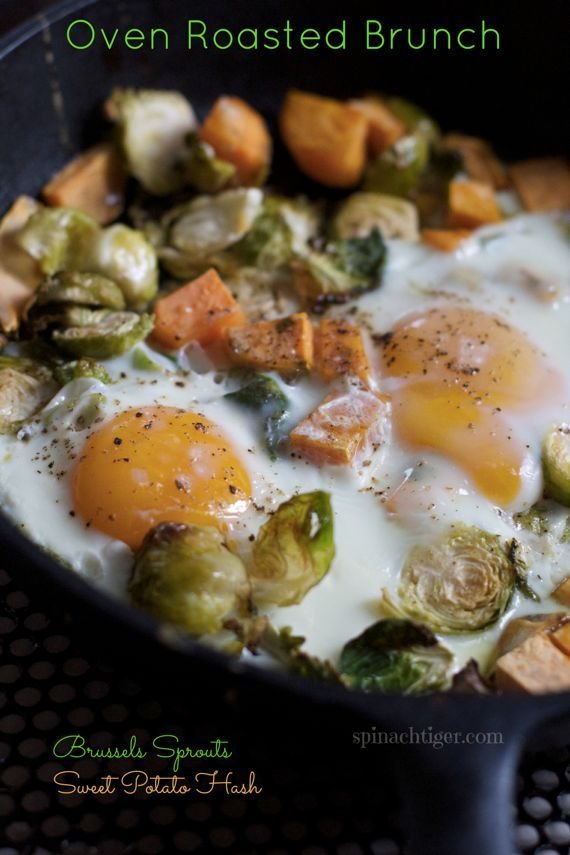 Baked Eggs with Sweet Potato and Brussels Sprouts Hash from @Angela Roberts-Spinach Tiger