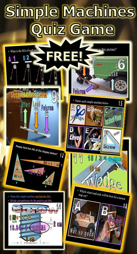 This is a FREE 106 Slide PowerPoint Quiz Game about Simple Machines, Pulley, Lever, Inclined Plane, Wedge, Screw, Wheel and Axle. Student also have to calculate mechanical advantage on several questions. Answer and worksheet are provided. -Enjoy! Science from Murf LLC