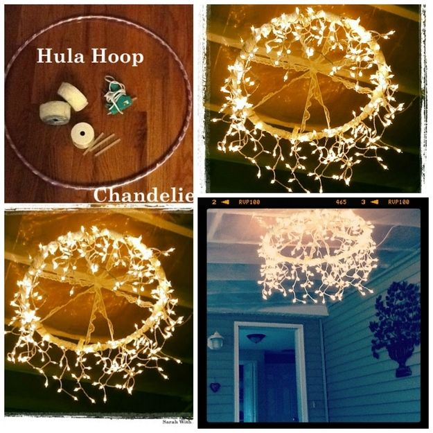 This could be over the dinner tables, and disco ball over dance floor? cute idea. Hula Hoop Chandelier - maybe with candles in jars or lightbulbs to go with everything else?