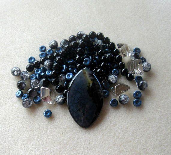 Dragon Vein Agate Black Onyx Glass Pearls DIY Jewelry Kit