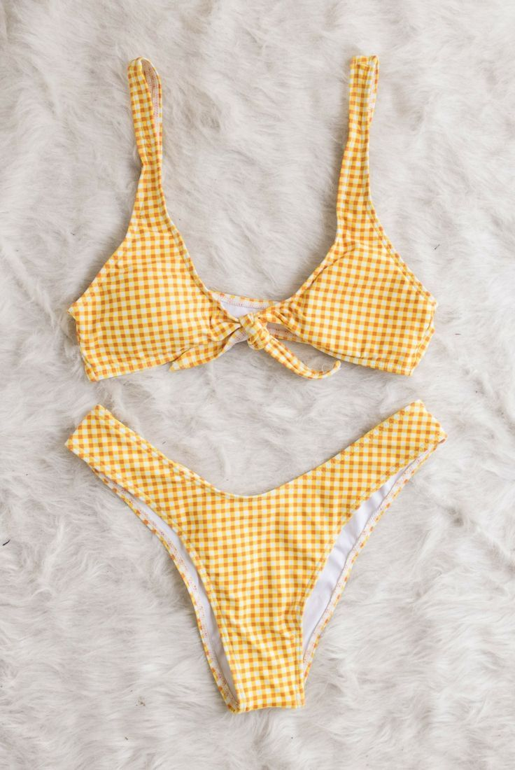 92fc3b7dad6ed gingham bathing suit, yellow, white, black, bikini, two piece, high waist,  90s, vintage, bow, flat lay // The Copper Closet, fashion, boutique,  clothing, ...