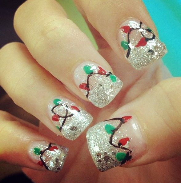 Christmas nail art - red and green lights