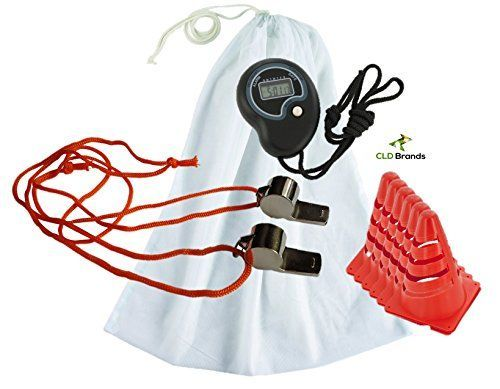 Coach Equipment Mesh Carry Bag with Whistle Stopwatch Cones Coaches Bundle >>> For more information, visit image link.