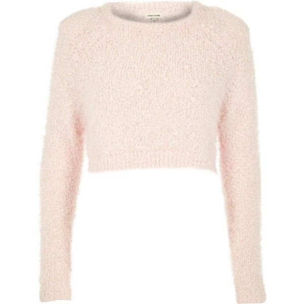 River Island Pink pink fluffy crop sweater ($20) ❤ liked on Polyvore featuring tops, sweaters, crop tops, shirts, knitwear, pink, sale, women, long sleeve crop sweater and long sleeve crop top