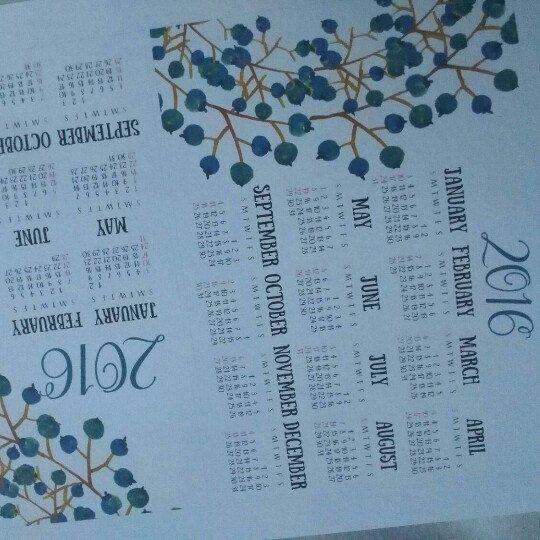 "New 5""x7"" size Calendar 2016"