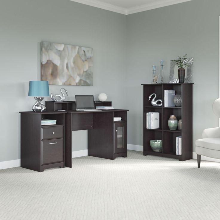 bush furniture cabot collection 48w single pedestal desk with 2drawer pedestal and 6 cube storage espresso oak brown