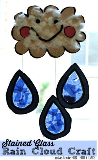 Stained Glass Rain Cloud Craft - adorable kids idea with step by step tutorial from Miss Lovie.