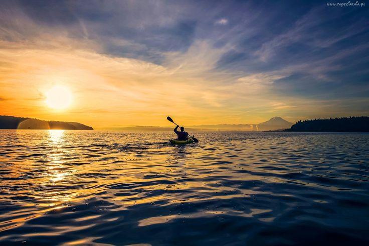 Wschód Słońca, Świt, Jezioro, Kajak
