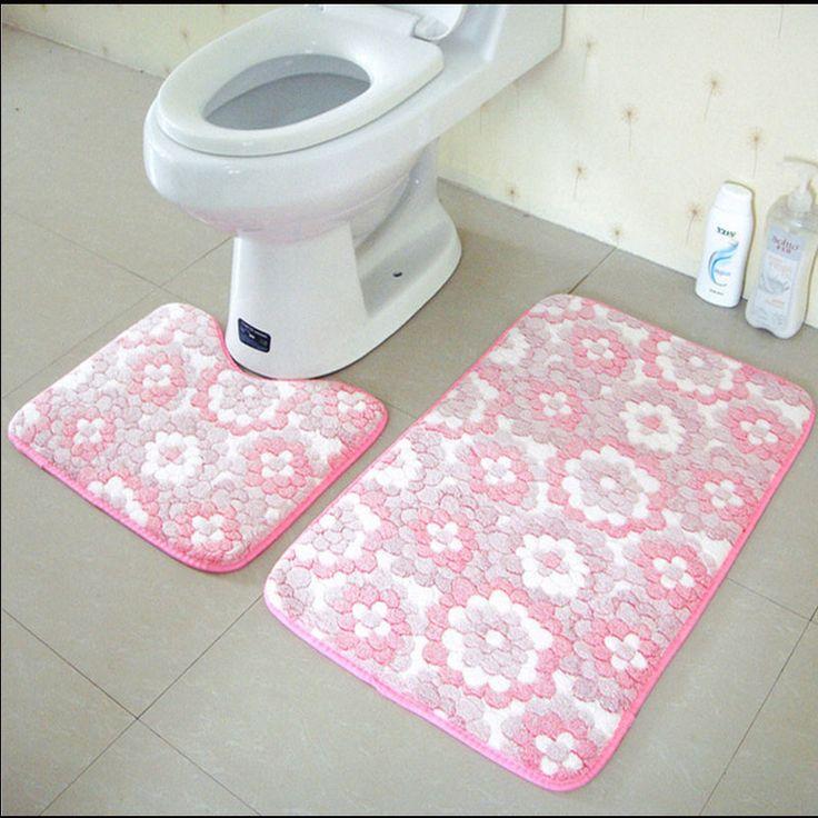 2Pcs/Set Anti Slip Bathroom Mat Set Coral Fleece Floor Bath Mats Washable Bathroom Toilet Rugs #Affiliate