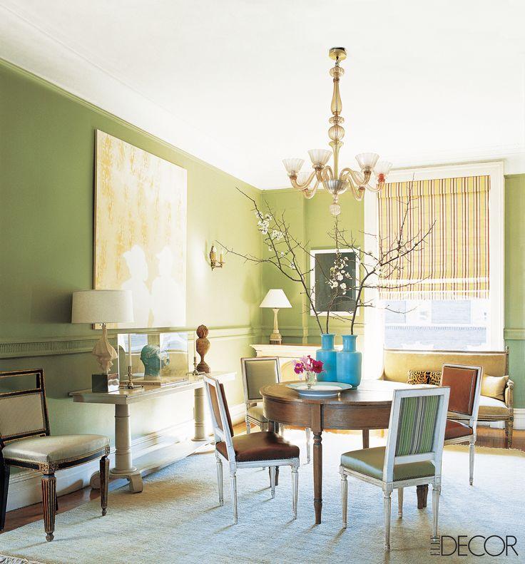 Pale green walls dominate this light-filled Harlem apartment, decorated by Sheila Bridges.   - ELLEDecor.com