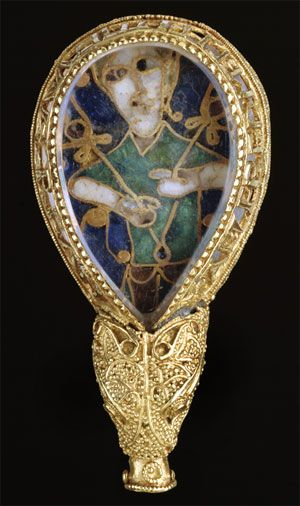 "The Alfred Jewel is a Anglo-Saxon ornament made of enamel and quartz enclosed in gold that was discovered in 1693. It has been dated from the late 9th century. It was made in the reign of Alfred the Great and is inscribed ""aelfred mec heht gewyrcan"", meaning 'Alfred ordered me made'.Ca.  900 A.D. Medieval."