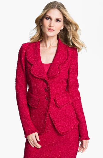 Red St. John Collection 'Sparkle Eyelash' Knit Blazer available at #Nordstrom