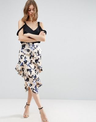 ASOS Satin Midi Skirt in Animal Print with Drawcord and Ruffles