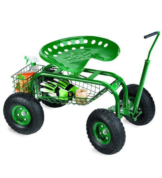 Lovely Plow U0026 Hearth Rolling Scoot N Do Garden Seat   Powder Coated Tubular Steel
