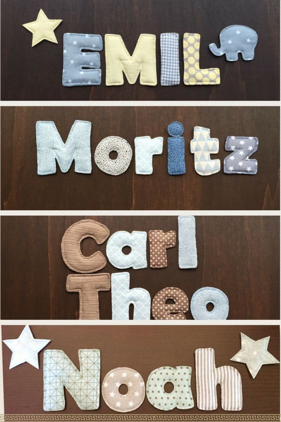 DIY Beste Anleitung für Stoffbuchstaben. Namensketten als Deko für das Kinderzimmer ganz leicht selber machen.