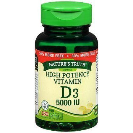 Nature's Truth High Potency Vitamin D3 5000 IU Quick-Release Softgels Vitamin Supplement 130 ct Bottle