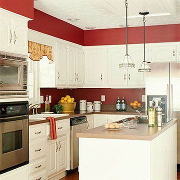 Pinterest the world s catalog of ideas for White cabinets red walls kitchen