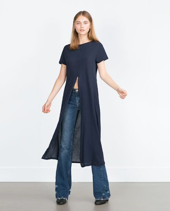 LONG T-SHIRT WITH FRONT VENT $20 @ ZARA