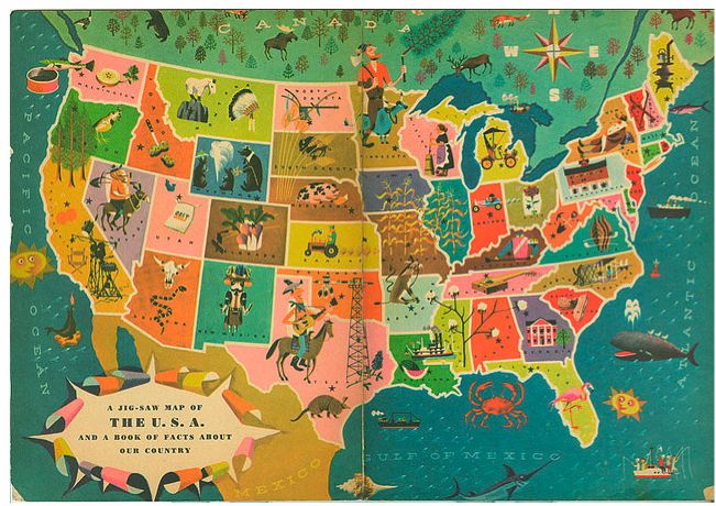'A Golden Book of Facts about the U.S.A. and a Jig-Saw Map of Our Country'  by Marion Conger Harry McNaught (Illustrator)