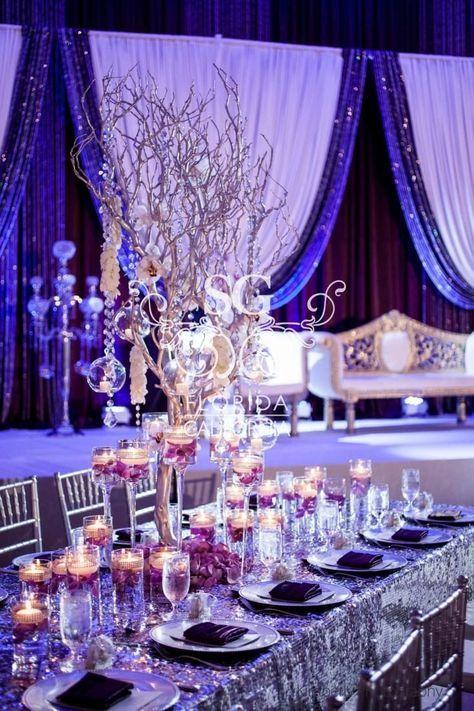 Suhaag Garden, Indian wedding decorator, Florida California Atlanta, wedding reception decor, silver and purple theme, reception stage decor, centerpieces, estate tables, manzanita tree branches