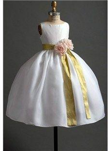 Pretty Ball Gown Scoop Sash & Flowers Embellishing Flower Girl Dress