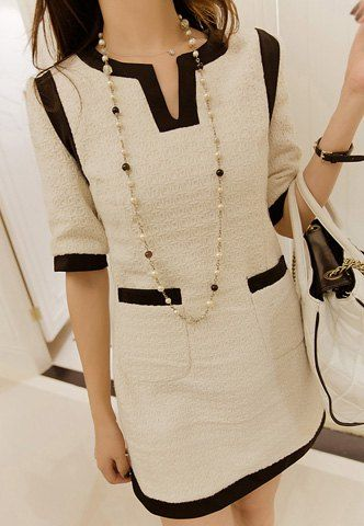 Scoop cuello elegante del bloque del color del bolsillo Vestido decorado 1/2 Las mujeres de la manga