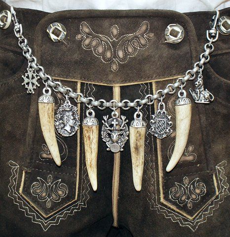 Charivari for leather pants (lederhosen) ~~~ stag deer horn hunting costume chain silver new: Amazon.de: Clothing