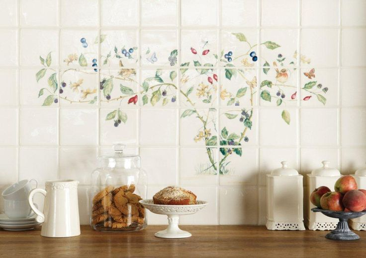 This amazing 22 tile Hedgerow panel in full colour is perfect for creating a stunning splashback in a country kitchen. Handmade ceramic tiles, made in the UK. winchestertiles.com
