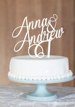Swirls Anna & Andrew wedding cake toppernames on by CommunicakeIt, $45.00