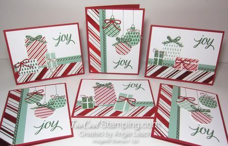 Candy Striped Presents & Ornaments from my September Countdown To Christmas class.  This is half of the class kit...we do 6 each of 2 different designs!  See complete details at www.TooCoolStamping.com.  Your Presents, Holiday Fancy Foil, holiday, Christmas, Stampin' Up, presents, ornaments.  #toocoolstamping