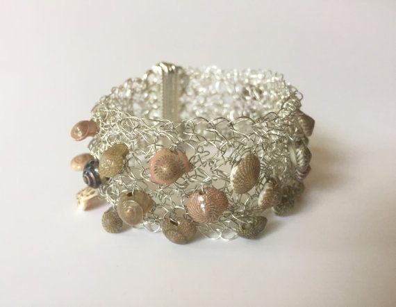 Crochet Silver Shell Cuff Bracelet by BillowareJewelry on Etsy