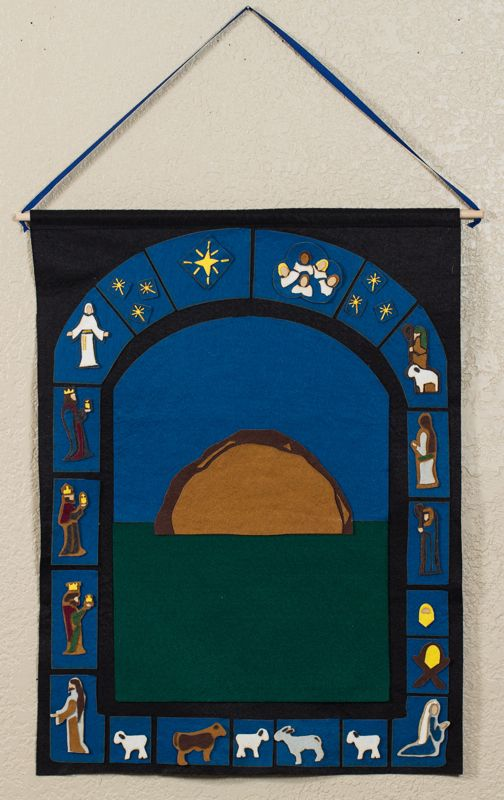 "felt ""Stained glass"" nativity advent calendar"