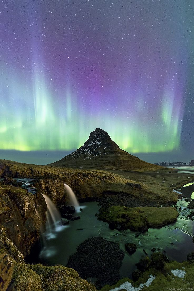Aurora, Kirkjufell, Iceland,