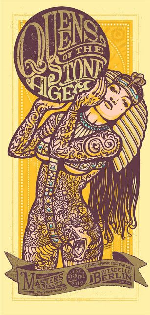 Queens-of-the-Stone-Age~ classic heavy metal psychedelic  rock music poster  ☮~ღ~*~*✿⊱  レ o √ 乇 !! ~ I just love the art on this