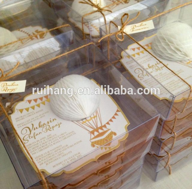 Hot air balloon wedding invitation in a clear acrylic box Beach Destination Tropical Wedding