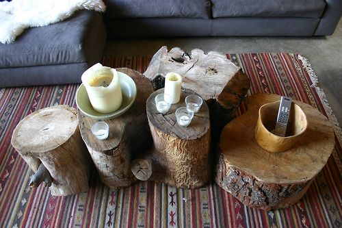 stumpsCoffe Tables, Ideas, Coffee Tables, Trees Trunks, Side Tables, Living Room, End Tables, Chic Home Decor, Trees Stumps